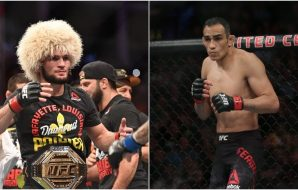 Left: MMA: UFC 242- Khabib Nurmagomedov (© Per Haljestam-USA TODAY Sports) Right: MMA: UFC 229-Tony Ferguson (© Stephen R. Sylvanie-USA TODAY Sports)