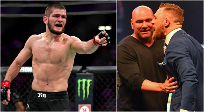 Khabib Nurmagomedov (© Stephen R. Sylvanie-USA TODAY Sports) Dana White Conor McGregor (© Steve Flynn-USA TODAY Sports)