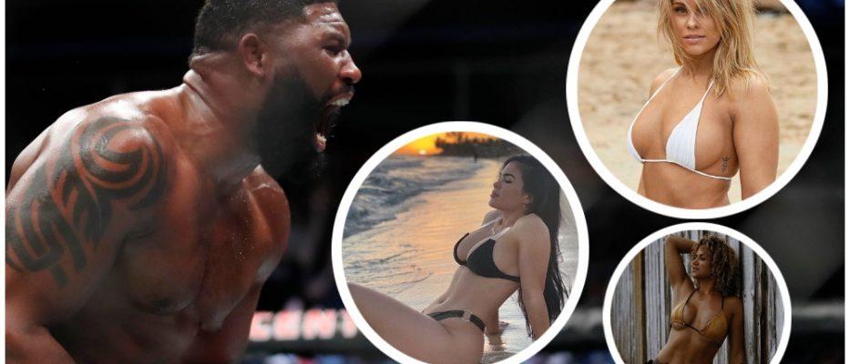 UFC strippers Curtis Blaydes Paige VanZant Rachael Ostovich (© Kamil Krzaczynski-USA TODAY Sports & Instagram)